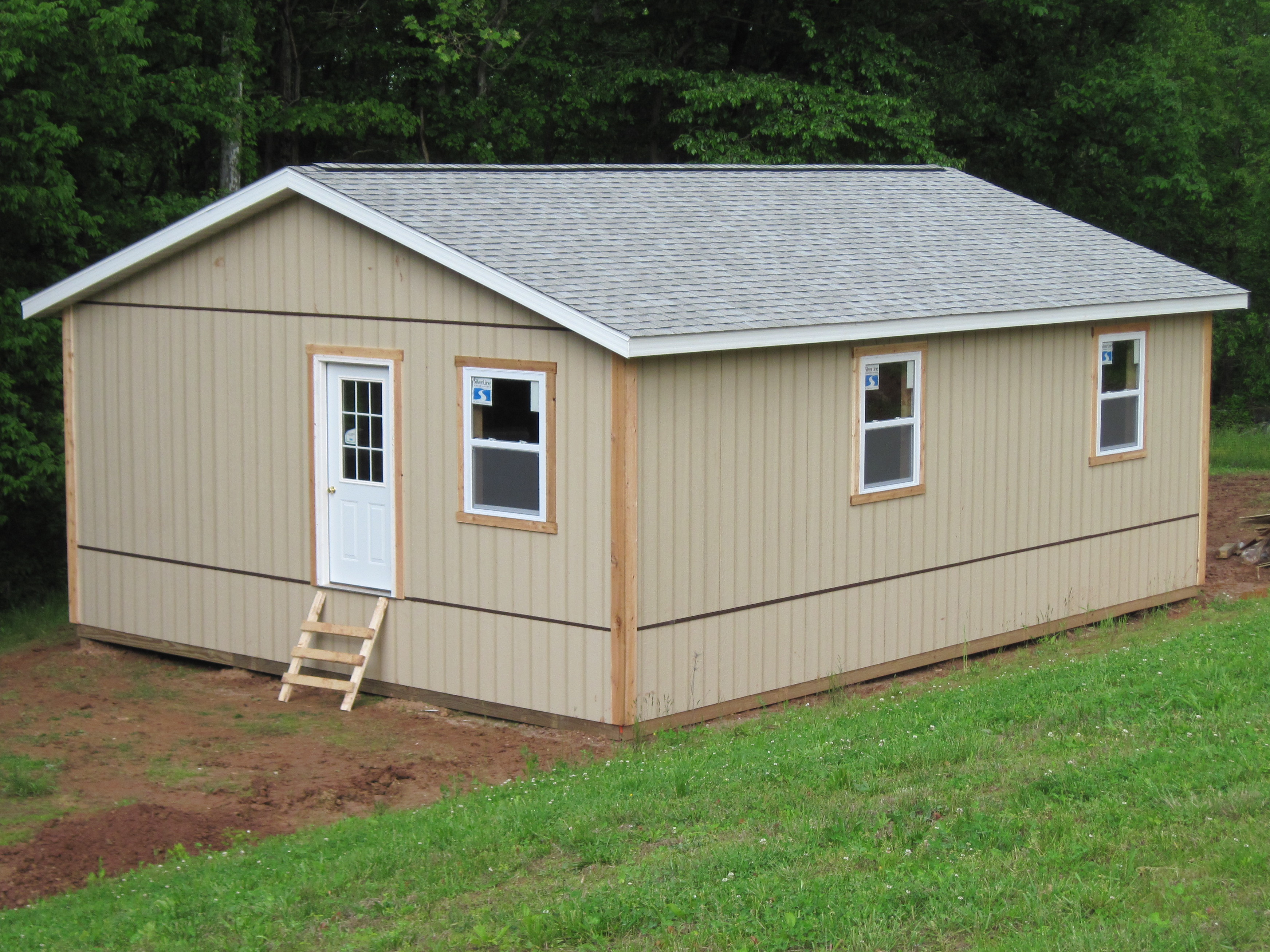 built garages a products vinyl barns white cream sheds amish pine frame ridge
